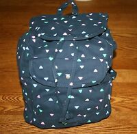 Abercrombie Classic Girl's Backpack Book Bag Tote Navy W Colorful Triangles