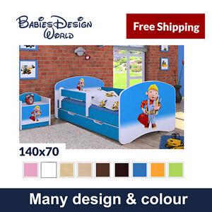 TODDLER CHILDREN KIDS SINGLE BED MATTRESS COOL DESIGN STICKER DRAWER