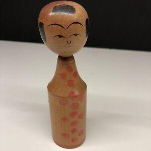 Vintage-Japanese-Wooden-Kokeshi-Doll-Hand-Painted-Folk-Art-Nice-Pice