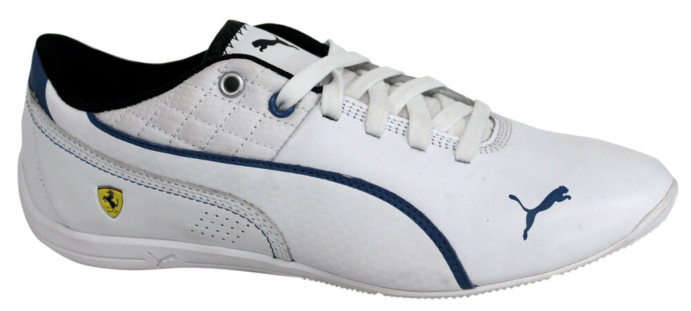 Puma Drift Cat 6 SF Lace Up Blanc Bleu Leather Synthetic Trainers 305136 03 D114