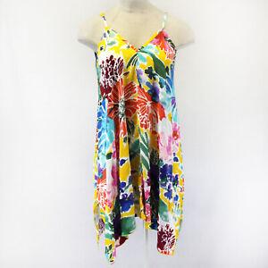 NEW-Jams-World-Sleeveless-Garden-S-Gold-Hawaiian-Sundress-Large-Made-in-USA