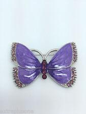 Esmalte Amatista Mariposa Strass Plateado Diamante Cristal Broche de aleación
