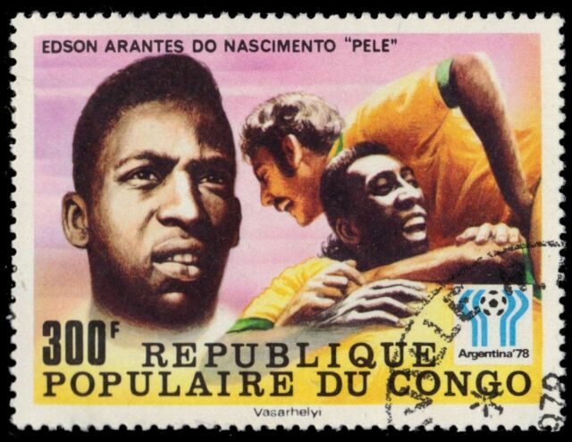 "P.R. CONGO 445 (Mi618) - World Cup Football ""Pele"" (pa77356)"
