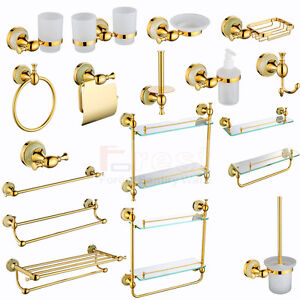 gold victorian style solid brass wall mounted round bathroom accessories 14 set ebay. Black Bedroom Furniture Sets. Home Design Ideas