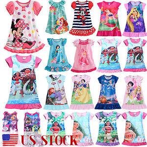 Kid-Girl-Dress-Cartoon-Tunic-T-Shirt-Dress-Nightwear-Nightdress-Sleepwear-Pajama