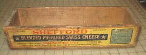 Vintage-14-034-5lb-SHEFFORD-034-SWISS-034-CHEESE-Wooden-Crate-No-Lid-Chicago-Syracuse