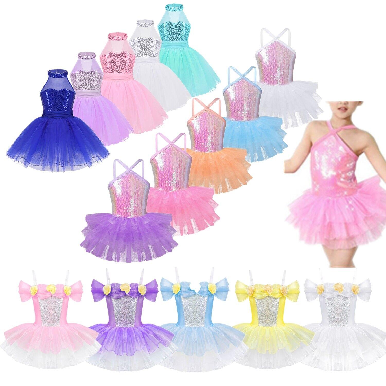Girls Kids Sequins Lyrical Ballet Dance Tutu Dress Gym Leotard Dancewear Costume