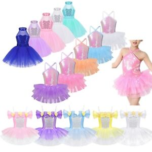 Girls-Kids-Sequins-Ballet-Dance-Tutu-Dress-Gymnastics-Leotard-Dancewear-Costume
