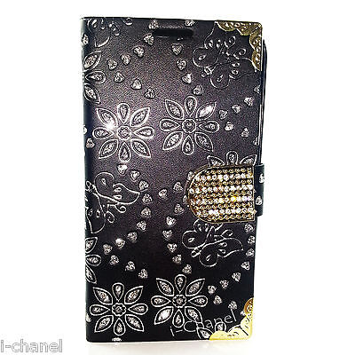 Bling Designer Diamond Leather Book Flip Wallet Case Cover For Various Models