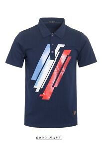 New-Mens-Short-Sleeve-Polo-Shirt-Slim-Fit-Stretch-Navy-Blue-White-Red-Stripes