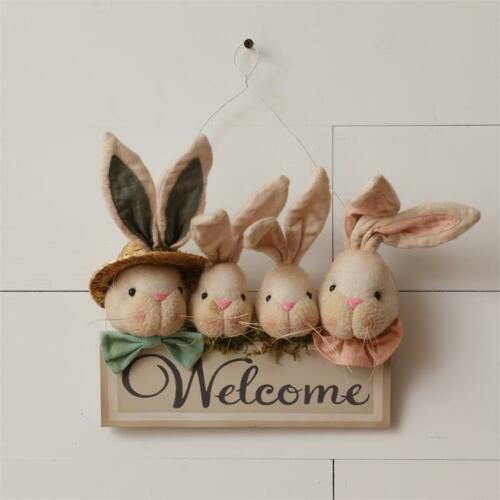 NEW!~Primitive Easter Welcome Bunny Rabbit Family Wall Decor~Country//Farmhouse