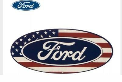 Vintage Ford Logo American Flag Oval Metal Sign 🔴⚪️🔵 9
