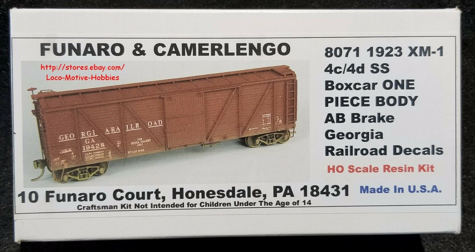 LMH Funaro F&C 8071 279-8071  GEORGIA Railroad  1923 Wood Boxcar  GARR  1-PIECE