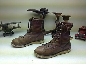 Made In Usa Danner Brown Leather Distressed Lace Up Boots