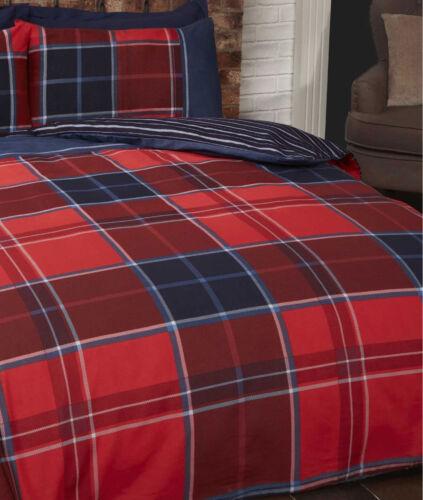 Argyle Check Duvet Set Red Single Double or King