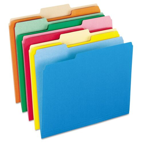 100 PENDAFLEX 1//3 Top Tab Assorted 5 COLOR 2tone LETTER File Folder PFX15213ASST