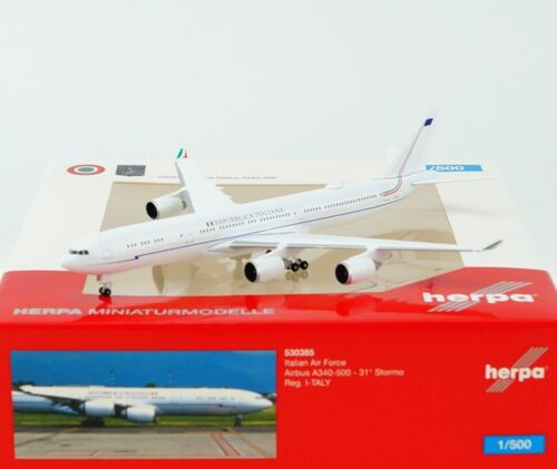embalaje original i-Taly-nuevo Herpa 530385-1:500 Italian Air Force airbus a340-500