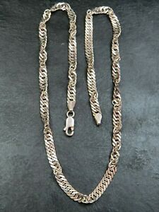 Sterling Silver 22in Antiqued Fancy Link Necklace Chain