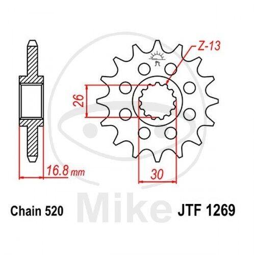 JT Motocicleta Racing-Ritzel 16 Dientes, Paso 520 JTF1269.16
