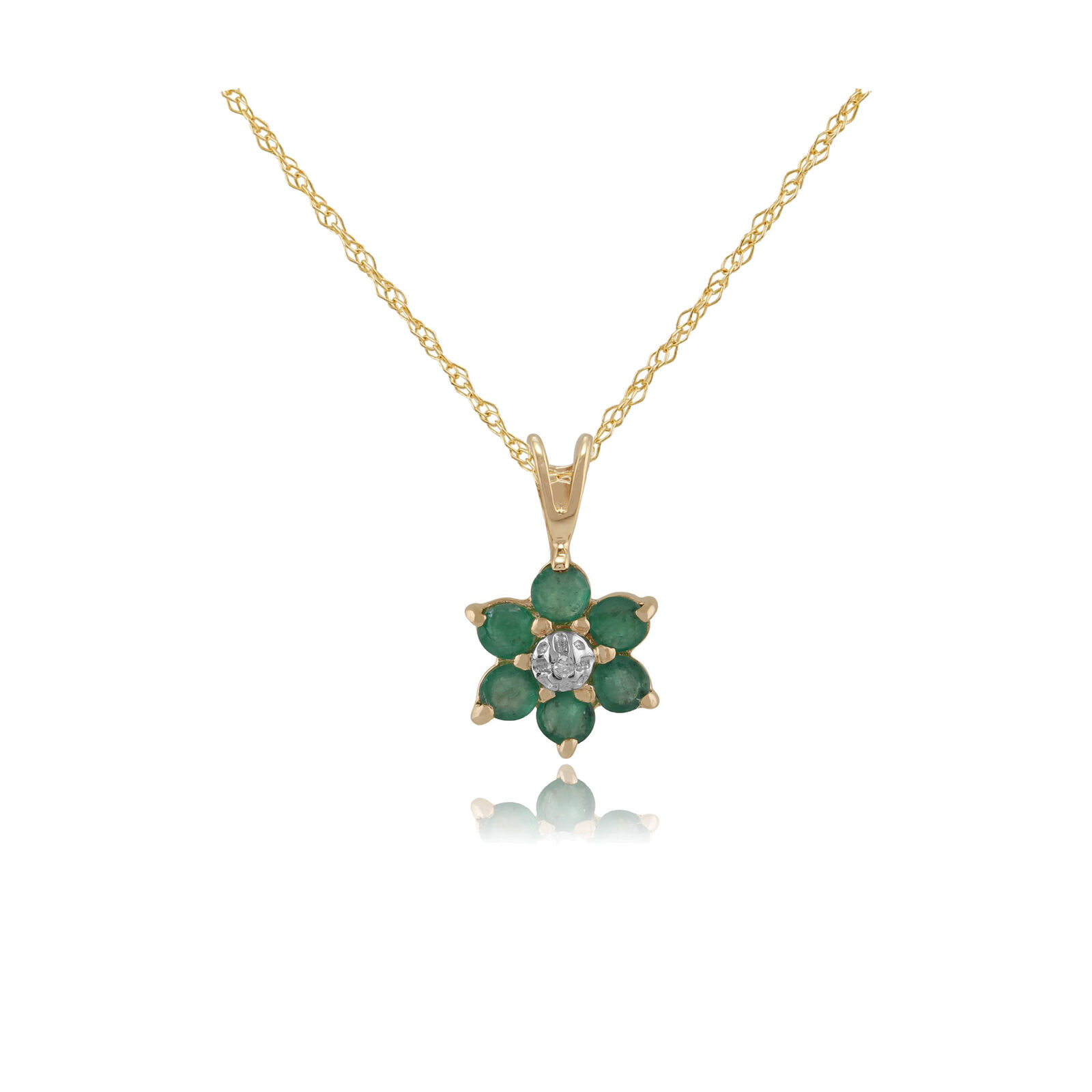9ct Yellow gold 0.44ct Emerald & Diamond Classic Cluster Pendant on 45cm Chain