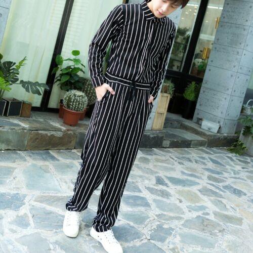 Mens Korean Stripe Jumpsuits Overalls Loose Trousers Pants Slim Lapel Leisure