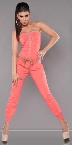 Overall Jumpsuit Bandeau Tailleur-Pantalon bleu de travail avec ceinture et zip