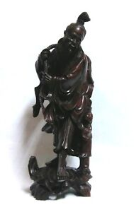 Wooden-Carved-Fisherman-12-034-Figure-Statue-Asian-Style-made-in-Hong-Kong-Vintage