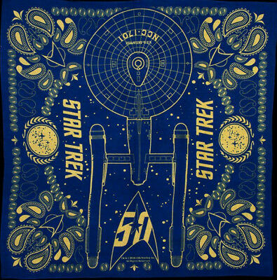 "Star Trek 50th Anniversary 22/"" Square Cotton Bandana-QMX Mailed Daily from USA"