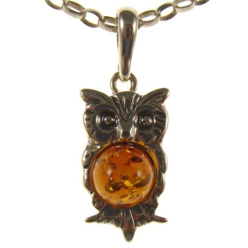 Baltic amber sterling silver 925 hibou oiseau Collier Pendentif Chaîne Cadeau Bijoux