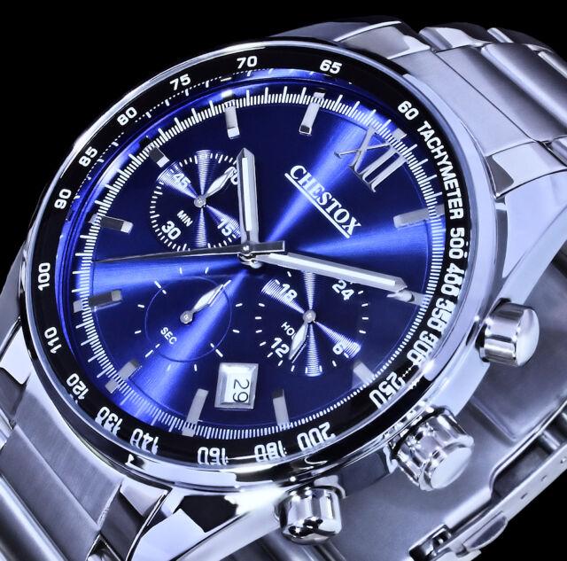 CHESTOX Herren Uhr Chronograph Datum Blau Silber Farben 0101