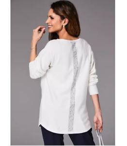 Ivory-Dolman-Sleeve-Oversized-Longline-Fine-Knit-Tunic-Style-Embellished-Jumper
