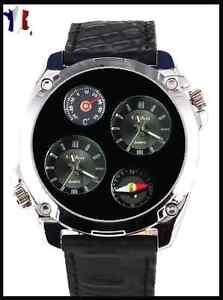 Sur Dual Détails 4 Cadrans Noirs Thermomètre Time Montre Et Homme Boussole HYD29IEeW