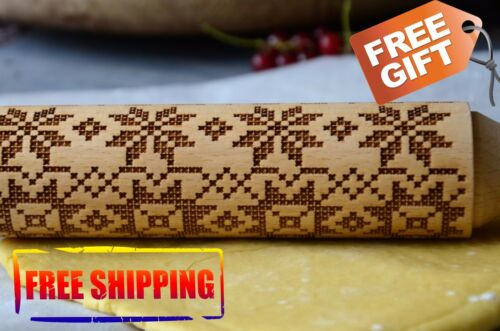 WOODEN ROLLING PIN EMBROIDERY ORNAMENT 4 SIZE DECORATIVE PATTERN WOODEN GIFT