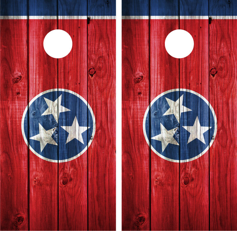 Tennessee State Flag Distressed Wood Vintage Cornhole Board  Decal Wrap Wraps  a lot of surprises