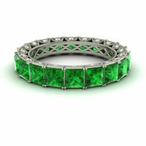 4.40 Ct Natural Diamond Emerald Gemstone 950 Platinum Eternity Bands Size M N P