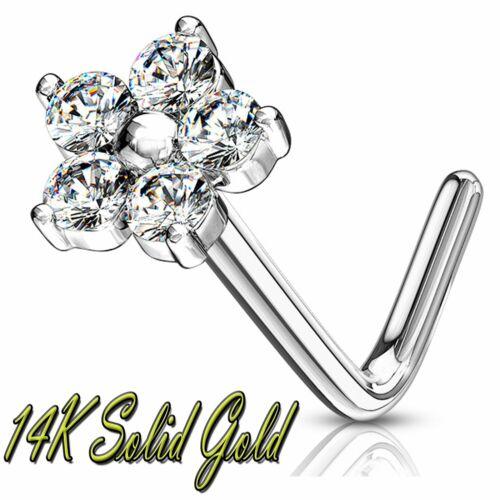 Details about  /14k Solid Gold L  Bend Nose Ring L Shape Nose Stud Ring CZ Flower Top