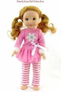 Pink-Snowflake-Dress-Legging-14-034-Doll-Clothes-Fit-American-Girl-Wellie-Wishers