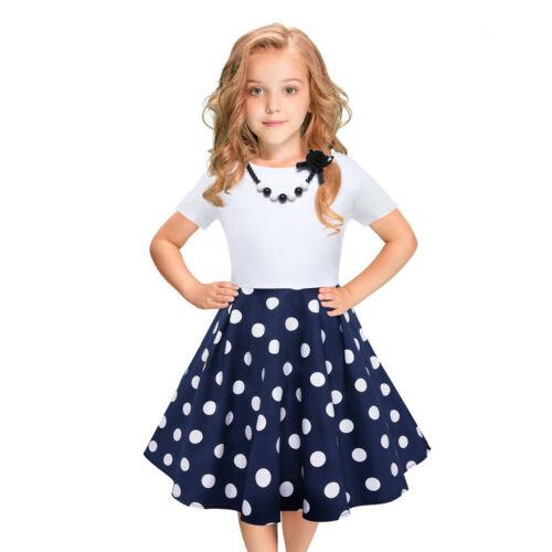 Kids Girls Vintage Dress Polka Dot Princess Swing Rockabilly Casual Party Dress