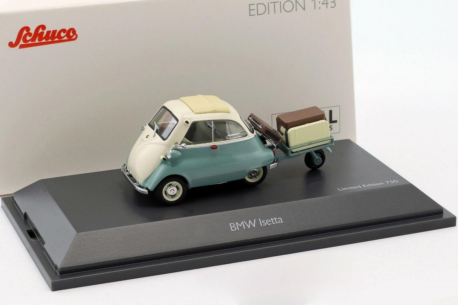 BMW ISETTA AVEC REMORQUE 1960 Vert Clair Blanc L.E.1 750 - 1 43 - Schuco