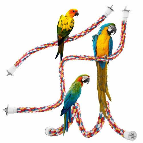 Jusney Bird Rope Perches Comfy Perch Parrot Toys Rope Bungee Bird Toy