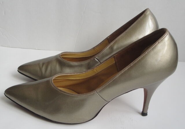 c844f7ca2a614 Details about Vintage Taupe Patent Leather Shoes Pointy Toe Spiked Heels 8  Sears