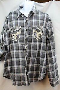1970s Striped Button Down Shirt   70s Retro Cotton Blend Shirt Long Sleeve  Men/'s ML