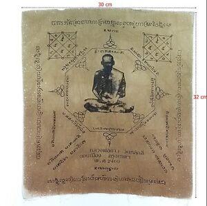 LP Khaw Wishing Cloth Pha Yant Talisman Thai Amulet Buddha Luck Rich #29