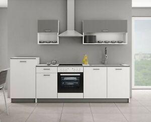 Details zu Küchenblock Route 2 Weiss Matt Graphit mit Hängeschränke Küche  mit Arbeitsplatte