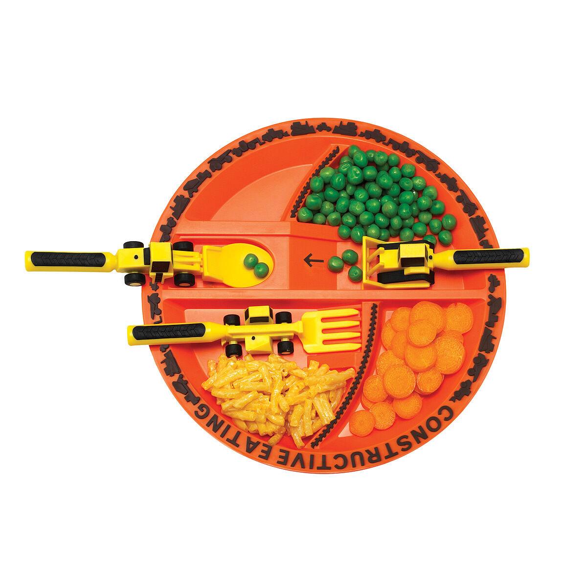 """צלחת אוכל כתומה מחולקת לילדים עם סכו""""ם בצורת דחפורים ורכבי עבודה"""