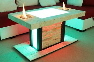 Details About Solid Coffee Table Fire Pit Led Table Bioethanol Fireplace Burner Shisha Hookah