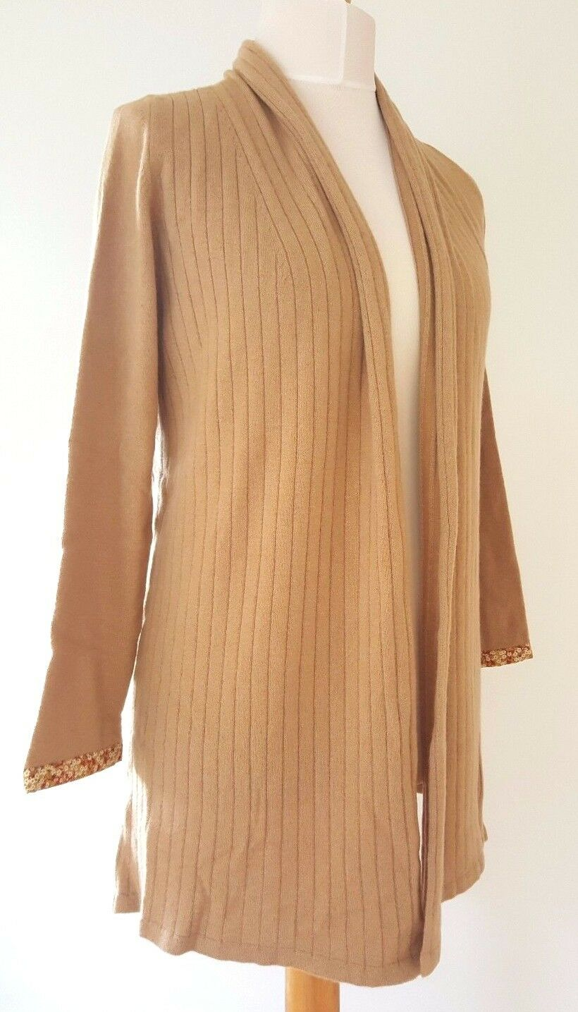 BNWT Liberty of London 100% Cashmere Women's Taupe Long Drape Cardigan (Size XL)