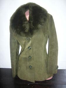Details zu Echt Wildleder Lederjacke Wild Leder Jacke Kunstfell Kragen Grün 40