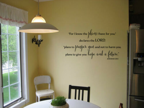 JEREMIAH 29:11 FOR I KNOW THE PLANS RELIGIOUS VINYL WALL DECAL QUOTE SCRIPTURE