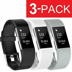 Details about 3 Pack Replacement Band for Fitbit Charge 2 Large Bracelet  Watch Rate Fitness US
